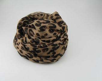 Silk Chiffon Scarf --- Leopard