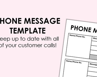 Phone Message Log - printable download A4 size (can be scaled to A5, or Letter)