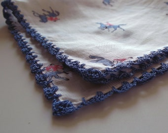 A Vintage Blue Crocheted Edged Cotton Lawn Handkerchief - Dainty Ladies' Hanky