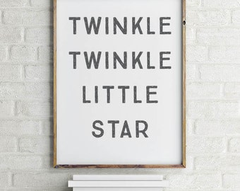 Twinkle Twinkle Little Star Wall Art Printable | Twinkle Twinkle Little Star Art | Poster | Printable Art | Home Decor | INSTANT DOWNLOAD