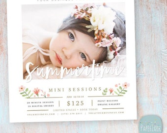Summer, Marketing Board, Summer Mini Session, Summer Flyer, Mini Sessions, Summertime mini - Photoshop template - IH019 - INSTANT DOWNLOAD