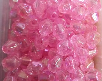 250 faceted acrylic bicone beads 4mm pink