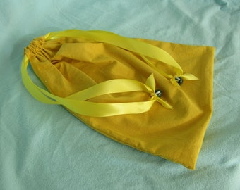 Drawstring Bag Bread Bag Yellow (hand-dyed)