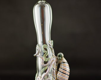 Octopus Glass Chillum Bat Pipe in Clear & Artist Swirl, #672