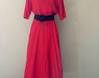 80s Polka Dot Dress - Pinup Dress - Red Black Polka Dot Dress - Small Midi