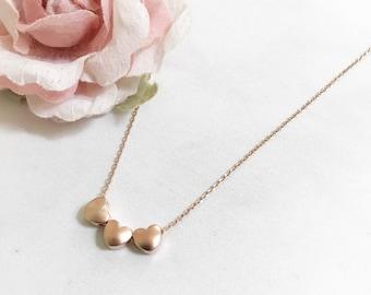 Dainty Heart Trio Necklace