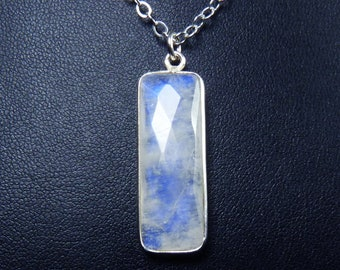 Faceted Rainbow Moonstone and Sterling Silver Necklace, Faceted Rainbow Moonstone and Silver Pendant, Cobalt Blue and Cornflower Blue Fire