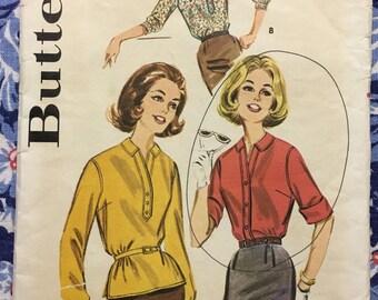 Butterick 9872 COMPLETE vintage pattern early 60s blouse pattern Size 14/34