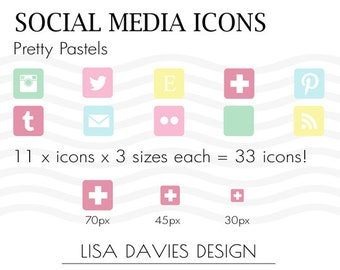 Instant Download Social Media Icons  in Pretty Pastels