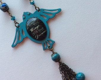 Bird in Flight Necklace with Fancy Tassel