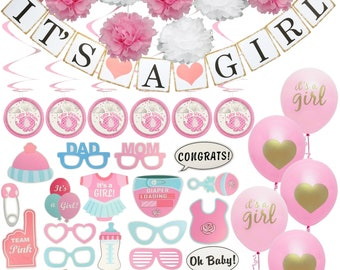 Baby Shower Decorations for Girl - Includes matching 'Its A Girl' Banner & Balloons, Cute Photo Booth Props, Pink/White Flowers and More!