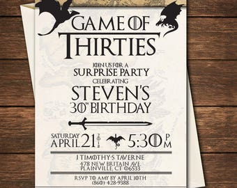 Game of thrones bday etsy game of thrones birthday invitation game of thrones birthdaygame of thrones 30th birthdaygame of thrones invitationgame of thrones party filmwisefo