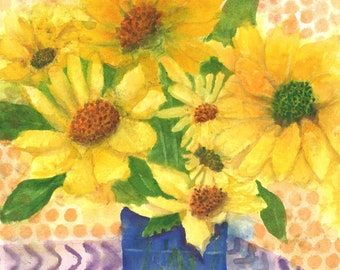Summer Yellow Daises in Blue Vase