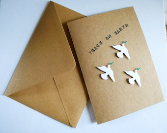 Handmade Christmas Card - dove design - envelope included