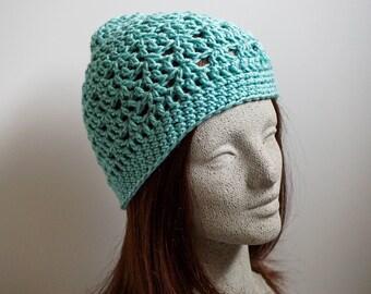 Seafoam Green Crochet Beanie Medium Weight Beanie Silvery Blue Green Crocheted Hat Womens Beanie Hat Teen Girl Beanie Hat