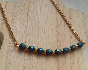 Golden brass, faceted Bohemian beads chain necklace.