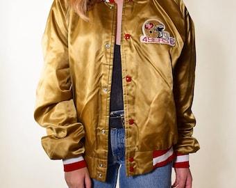 Vintage 1980's San Francisco 49ers football Chalk Line nylon bomber stadium jacket size Medium/ large