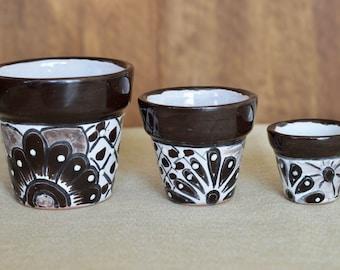 3 Talavera  small  pots