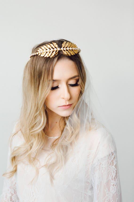 Leaf Tiara, Gold Tiara, Gold Leaf Headpiece, Leaf Halo, Bridal Tiara, Gold Leaf Headband, Woodland, Boho, Laurel Leaf, Goddess ISADORA