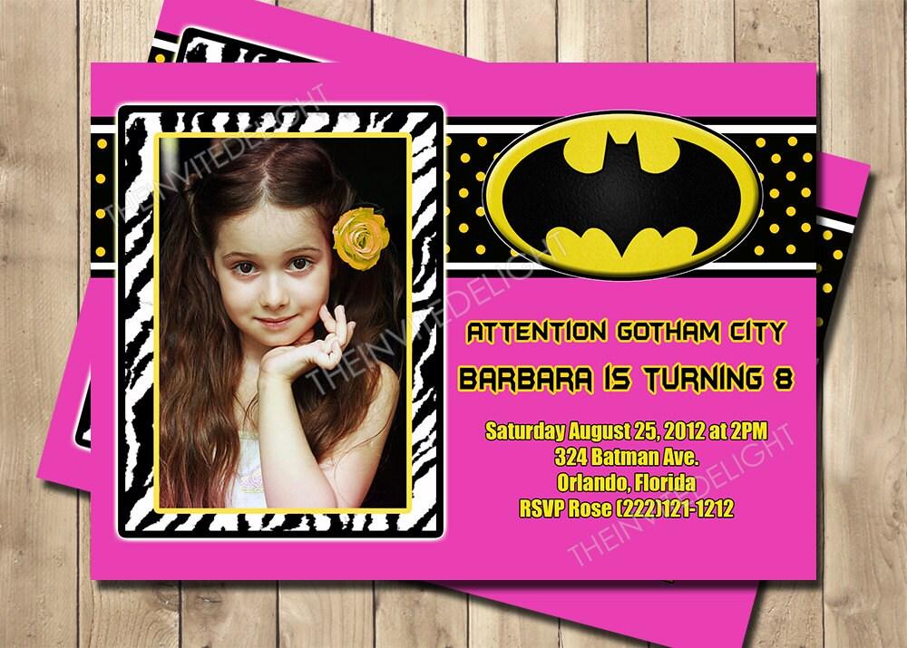 Batman Birthday Invitation Batgirl Hot Pink Superhero Party