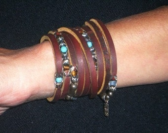 Womens Leather Cuff Bracelet   Gypsy Eye, sterling silver, leather, Turquoise and Tiger Eye beauty