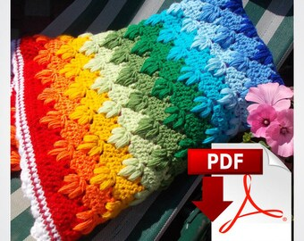 Crochet Pattern Baby Blanket Rainbow Pattern Rainbow Baby Gift Crochet Blanket Pattern Afghan Pattern How to Crochet Tutorial by Loren Ver