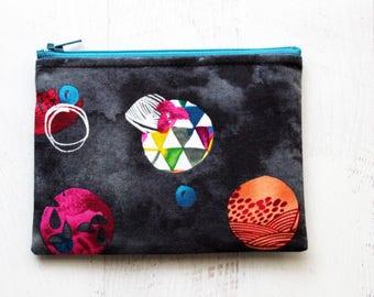 CLEARANCE - zippered pouch - small makeup bag - black bag -  zipper pouch