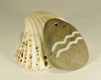 Aquarius Pendant Engraved Beach Pebble Pendant with Zodiac Sign Aquarius Top Drilled Beach Stone Natural Pebbles