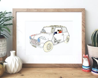Mini Cooper car - Ink and collage illustration