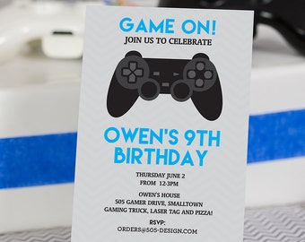 Blue Video Game Birthday Invitation INSTANT DOWNLOAD  - Printable Video Game Invitation by Printable Studio