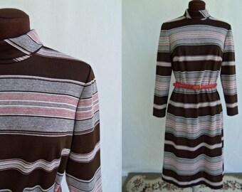 Vintage 60s 70s Dress By Bleeker Street Stripes Brown Rust Poly Knit Mod Size M / Medium