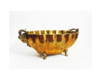 Large Vintage Brass Goat Head Bowl
