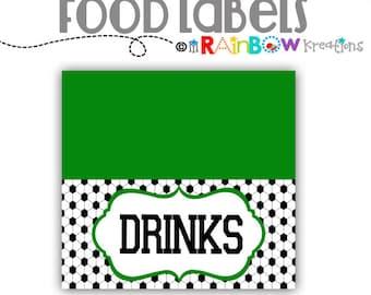 FOODLABL-802: DIY - Soccer Food Labels - Instant Downloadable File