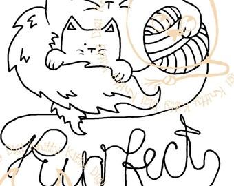 Digi Stamp Instant Download. Purrfect Mum - Knitty Kitty Digis No. 18