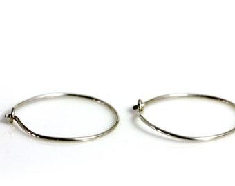 Sterling Silver Earring Findings   Jewelry Supplies   (4) Sterling Silver Hoop Earrings   DIY   Beadvamp   Handmade Jewelry Components