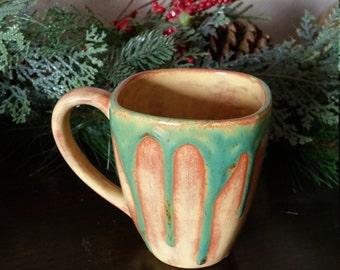 Hand painted mug with drips, pottery mug, ceramic mug