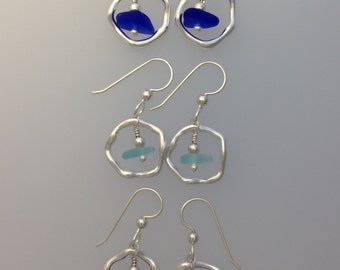 Sea Glass Earrings the Whimsy Rings