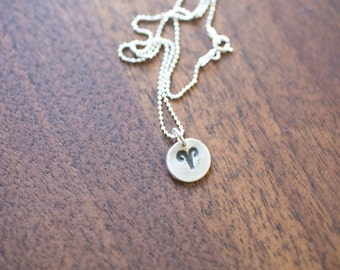 Aries Necklace Zodiac Necklace - Gift for her March April Birthday Gift Sterling Silver Aries Pendant Tiny Aries Small Aries Simple