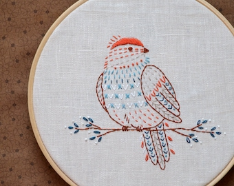 Embroidery pattern, Bird, Embroidery pattern PDF,  Digital Download, Hand embroidery patterns by NaiveNeedle