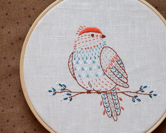 Embroidery Pattern Bird Embroidery Pattern Pdf Digital Download