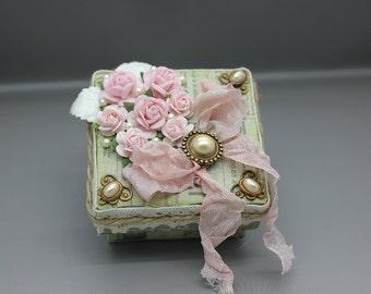 Handmade tiny shabby chic gift or keepsake box