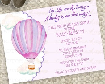 Watercolor Girl Hot Air Balloon Baby Shower Invitation in Purple and Pink Personalized Digital File with Professional Printing Option