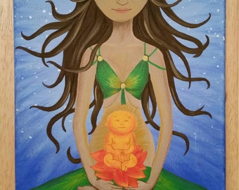 Personalized yogi mom and baby painting