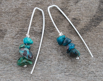 Silver Threader Earrings, Wire Earrings, Chrysocolla Earrings, Pull Through Earrings, Wishbone Earrings,  Turquoise Colored Earrings