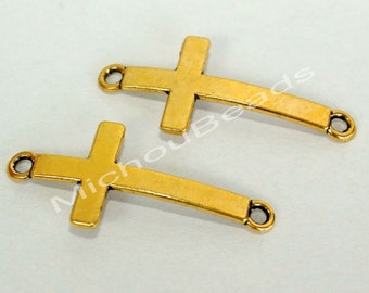 4 Antiqued GOLD 36mm Curved Sideways CROSS Connector Link - 36x16mm Tibetan style Cross Charm w/ Loops - Lead Nickel Free - USA - 5741