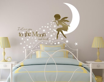 African Fairy wall decal, Afro Girl wall decal, nursery decor fairies, I Love You to the Moon Nursery Wall Art Fairy, Afro Fairy Wall Art