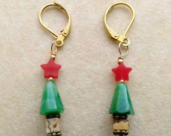 Handmade Beaded Christmas Tree Earring,. Gold Plated Leverback, Summertime Santa, Cute Christmas Tree Earrings- Minimalist by enchantedbeas