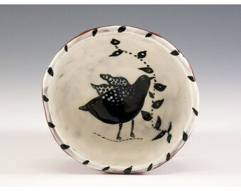 Black Bird in a White Bowl - Original Painting by Jenny Mendes in a Hand Pinched Ceramic Finger Bowl