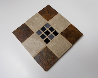 """Brown Marble Porcelain Stone Tile Trivet with Black Glass Marble Center 6"""" x 6"""""""