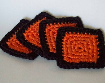 Square Crochet Coasters, Set of 4/Orange/Black/Halloween